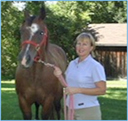 Dr. Christine Skelly and her gelding Cat, the barn clown