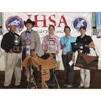 Bob Cacchione, IHSA executive director, awards prizes for high-point Western rider at the 2012 national championships to Austin Griffith of the Ohio State University team