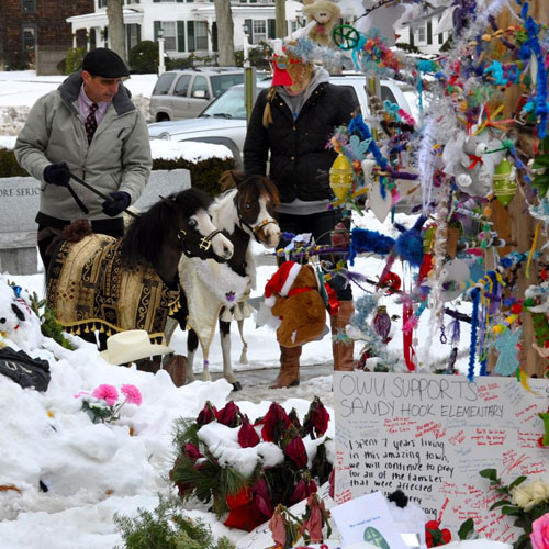 Gentle Carousel Horses visit Sandy Hook memorial to the slain children and teachers.