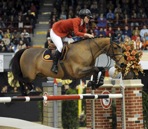 Holsteiner Quincy B, ridden by Hillary Dobbs. Photo by Nancy Jaffer