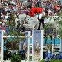 McLain Ward and Antares F had a perfect score in the first round of Olympic show jumping. © Nancy Jaffer
