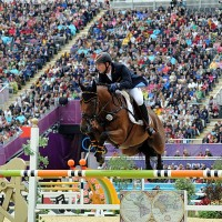 Michael Jung of Germany on his way to the team and eventing individual gold medals on Sam.   2012 Nancy Jaffer