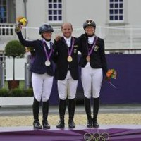 Eventing Individual Medal Winners: Sara Algotsson-Ostholt, Michael Jung, Sandra Auffarth. Photo Kit Houghton-FEI