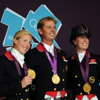 The British gold medal dressage team: Laura Bechtolsheimer, Carl Hester, Charlotte Dujardin. © Nancy Jaffer)