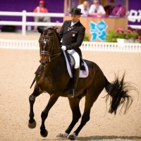 Steffen Peters and Ravel at dressage freestyle finals. Photo Shannon Brinkman