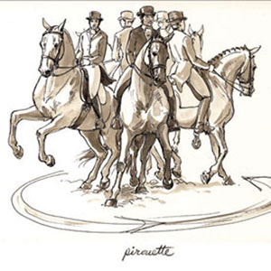 Pirouette. Drawing by Sandy Rabinowitz. Courtesy Dressage Today